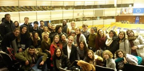 International exchange students visiting the European Parliament